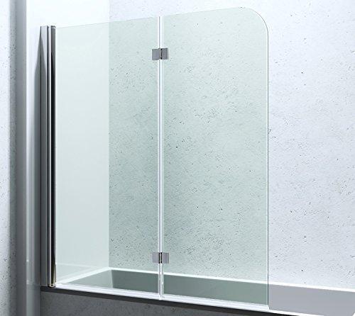 BxH: 117x141 cm Duschabtrennung Duschwand für Badewanne aus Glas Badewannenfaltwand CORTONA1408 / inkl. Nanobeschichtung, 6mm ESG-Sicherheitsglas,