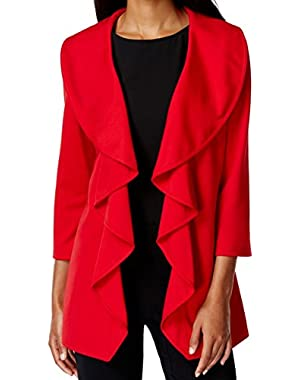Calvin Klein Women's Petite Ruffle Open-Front Jacket Red 6P