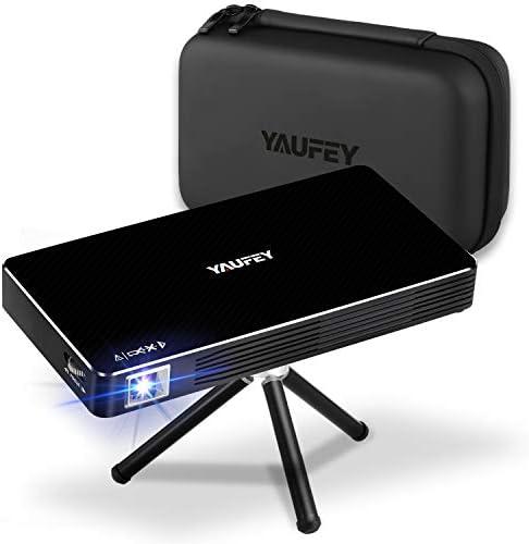 yaufey Mini proyector, Android 7.1 Portátil Proyector de Cine en Casa Pequeño Proyector DLP para iPhone Android Phone 150 ANSI lumens Soporte HDMI ...