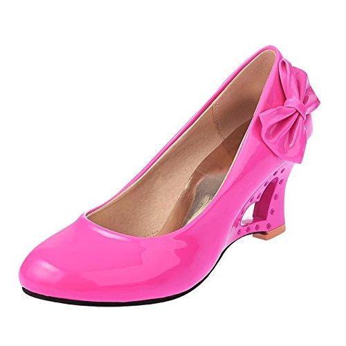 KHSKX-Candy Colored Leather Shoes Vaciado Concreto Pendiente Con Zapatos De Gran Tamaño Rosa Roja Treinta Y Ocho Forty-two