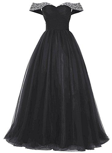 Drehouse Les Mancherons Des Femmes Perles D'une Ligne De Tulle Robes De Bal Robes De Soirée Noire
