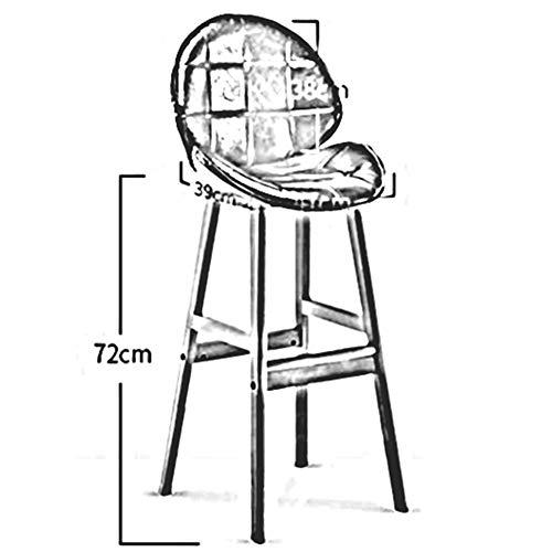 DALL massivt trä barstol ergonomiskt ryggstöd hög stol PU-säte matsal café kök pub diskbänk pall montering (färg: Guld)