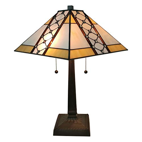 Amora Lighting Tiffany Style Table Lamp Banker Jeweled 24 Tall Stained Glass Yellow Tan Brown Vintage Antique Light D cor Nightstand Living Room Bedroom Office Handmade Gift AM237TL14, 14 In Diameter