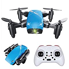 Features & Specifications:  Ultra compact mini drone with foldable arms; Headless flight mode; Altitude hold (air-pressure sensor); Acrobatic 3D flips; Dual flight speed rare (Low and High); One-key taking off / landing; Emergency stop bu...