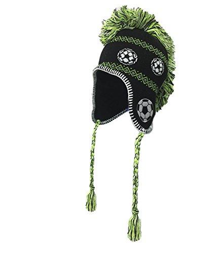 J4K Kids Funky Mohawk Hat, Winter Hat for Kids (Soccer Ball Logo)