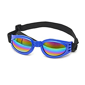 King Tsing Pet Goggles Dog Sunglasses Colorful UV Eyewear Protection with Adjustable Strap for Big Dogs over 15 LBS (Blue)