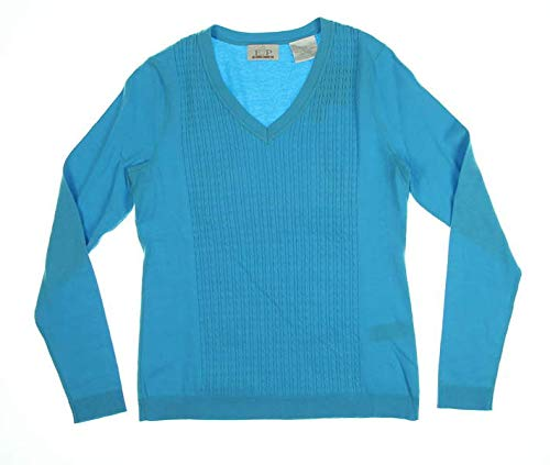 Cable Golf Sweater - EP Pro Golf Women's Long Sleeve V-Neck Cable Sweater, Capri Blue, Small