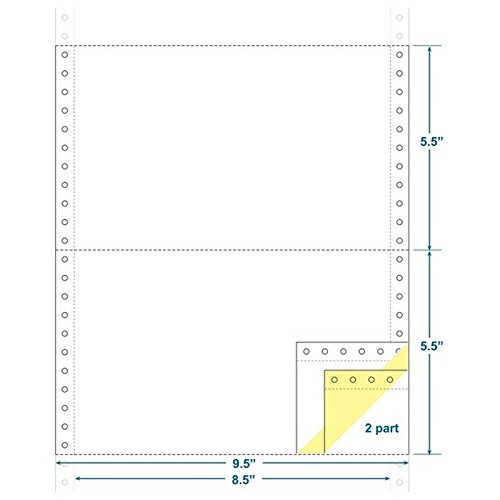 2-Ply Carbonless Paper, White/Canary, Form Size 9-1/2'' x 5-1/2'' (W x H) (Carton of 3600) by The Business Form Supplies Shop