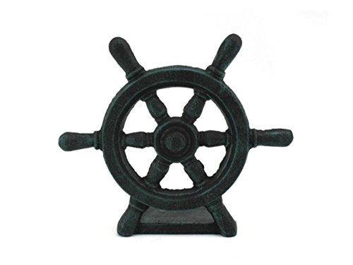 Hampton Nautical Cast Iron Ship Wheel Door Stopper, 9″, Seaworn Blue