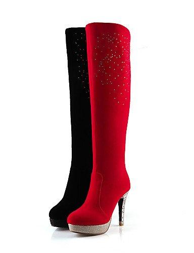 Punta Zapatos us6 La Rojo Negro Red Cn36 Uk3 Red Casual Stiletto Moda Redonda Eu36 Vestido Mujer Uk4 De Cn34 Botas A Tacón Vellón us5 Xzz Eu35 TAZqXdX