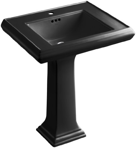 KOHLER K-2258-1-7 Memoirs Classic 27-Inch Pedestal Bathroom Sink with Single Faucet Hole Black