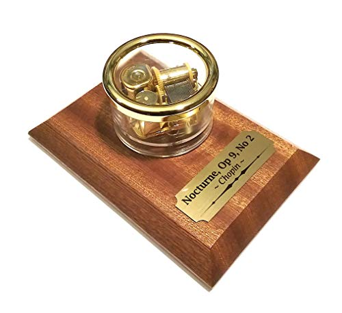 Odyssey Online - Chopin's Nocturne Music Box - Revolving, Rotates Around African Red Mahogany Base - Gem Stone Start/Stop Switch (Chopin Nocturne Op 9 No 2 Cover)