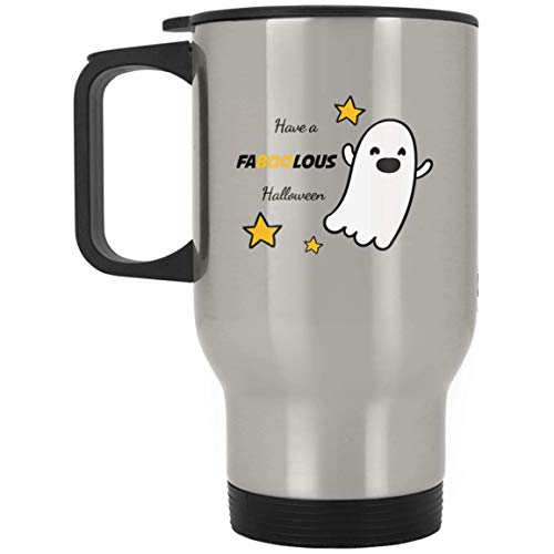 TG MUGS, Halloween Mug - Have FABOOLOUS Halloween - Travel Mug (Silver) -