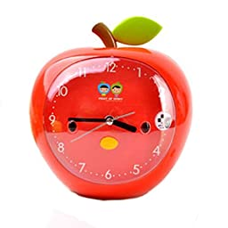 Cartoon Apple Red Mute Table Desk Classical Style Alarm Clocks For Kids Students