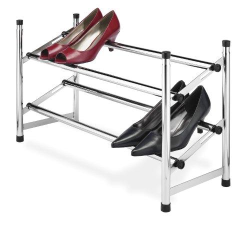 - Whitmor Adjustable Chrome Shoe Rack, 2 Tier,