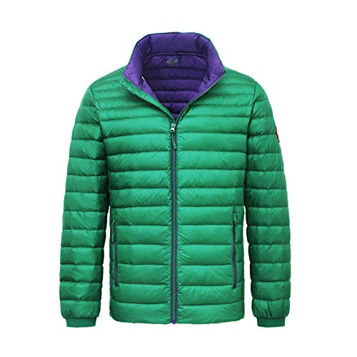 Rokka&Rolla Men's Ultra Lightweight Packable Puffer Down Jacket (XXL, Verdant Green)