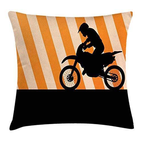 YVSXO Dirt Bike Throw Pillow Cushion Cover, Rider on a Bike Silhouette Diagonal Stripes in Orange Shades, Decorative Square Accent Pillow Case, 18 X 18 Inches, Orange Black Pale Orange