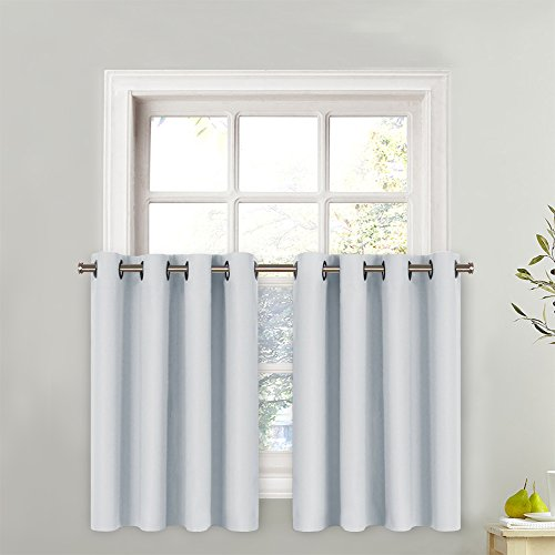 Header One Piece - NICETOWN Grayish White Curtain Panel - Functional Thermal Insulated Eyelet Top Room Darkening Curtain Panel - One Piece Valance - W52 x L36 + 1.2 Inches Header