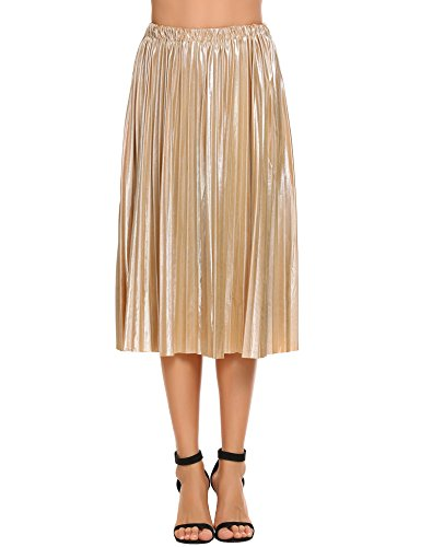 Zeagoo Women Pleated A-Line Midi Skirt Elastic High Waist Skirt for Party and Festival,Gold,X-Large
