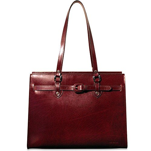 Jack Georges Milano Edge Collection Alexis Leather Womens Laptop Tote in Cherry