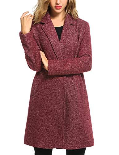 Zeagoo Winter Casual Coats Women Long Trench Single Breasted Zero Wool Jackets Long Pea Coat Trench Outdoor Walker Pocket (X-Large,Red)