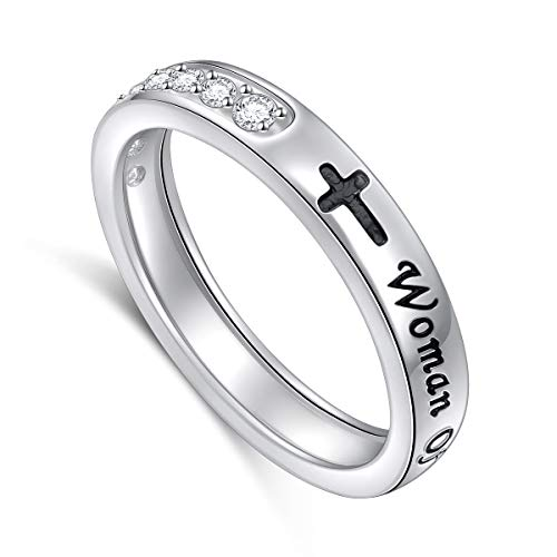 (Inspirational Jewelry Sterling Silver Faith Hope Love Women of God Sideways CZ Cross Ring for Women Girlfriend Gift)