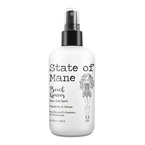 Beach Waves Sea Salt Spray for Hair Texturizing for the Perfect Curl by State of Mane 8 oz (Black Light Hairspray)