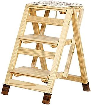 AGWa Zcctd - Escalera de madera, taburete plegable, tres peldaños - Silla de escalera/Taburete para trepar/Puesto de flores/Banco de zapatos/Estante de almacenamiento/Reposapiés pequeño: Amazon.es: Bricolaje y herramientas
