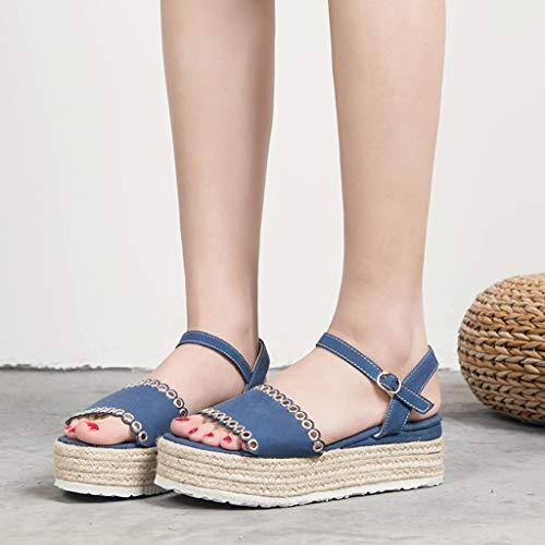 Zapatos Y Tobillo Cuerda De Cuña Antelina Con Alta Sandalias Ancha Azul Tacón A Para Tira Plataforma Mujer zarlle Al Ante X6PRpw