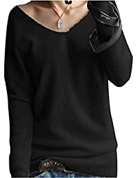 LONGMING Women's Oversized Loose Big V-Neck Winter Wool Cashmere Sweater Pullover