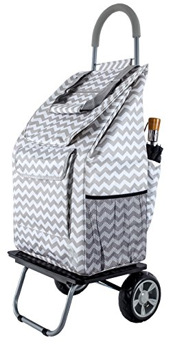 Bigger Trolley Dolly, Grey Chevron  Shopping Grocery Foldable Cart