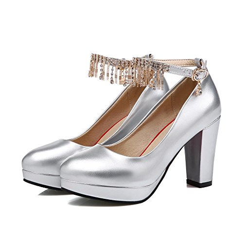VogueZone009 Women's Round Closed Toe Buckle PU Solid High-Heels Pumps-Shoes Silver 305egNd