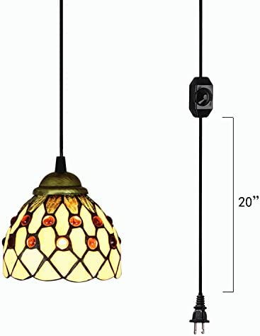Kiven Handmade Plug-in Glass Pendant Lighting Tiffany Chandelier E26 Base Dimmable Lamp 15ft UL Black Cord with Dimmer Switch Bulb Not Included TB0226