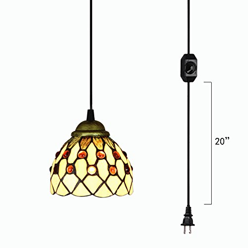 (Kiven Handmade Plug-in Glass Pendant Lighting Tiffany Chandelier E26 Base Dimmable Lamp 15ft UL Black Cord with Dimmer Switch Bulb Not Included (TB0226))