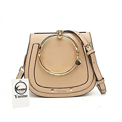 Yoome Elegant Rivets Punk Circular Ring Handle Handbags Messenger Crossbody Bags For Girls - Beige (with Yoome Logo)
