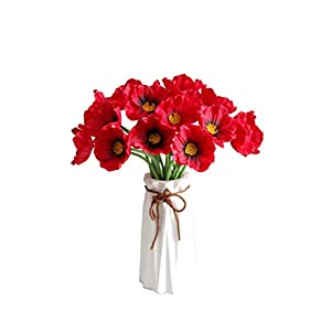 """Mandy's Red Poppy Artificial Flower for Wedding Home & Kitchen PU 12.5"""" (vase not Include) 6"""