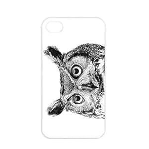 Cute popular owl Design Apple iPhone 4 / 4s TPU Soft Black or White case (White)
