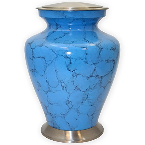 Faux Marble Urn - Beautiful Life Urns Serenity Blue Adult Cremation Urn (Large)