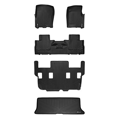 SMARTLINER Floor Mats and Cargo Liner Behind 3rd Row Set Black for 11-17 Expedition/Navigator with 2nd Row Bucket Seats No Console (No EL or L Models)