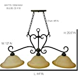 3-Light Bronze Rustic Billiard Pendant Light | Old