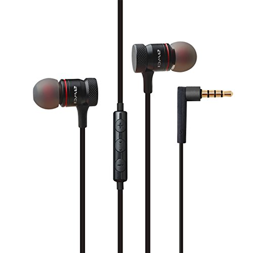 Earphones Earbuds Headphones, Balanced Bass Driven Stereo, Noise Isolating Lightweight, wired in-ear Earbuds, With Remote and Mic for iPhone iPad iPod Android Smartphones Tablets Laptop MP3/4 - Black
