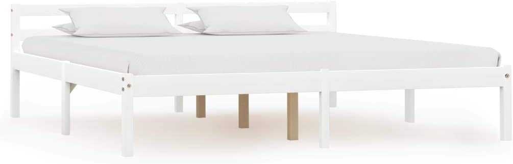 mewmewcat Lit Double pour Adulte 160 x 200 cm Cadre de Lit Style Moderne Blanc Bois de Pin Massif Matelas Non Inclus