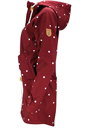 DERBE Damen Softshell Jacke Mantel Island Friese Dots wein rot
