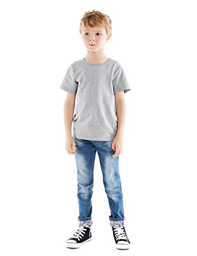 HOLLAGLEE Premium Skinny Boys Jeans Slim Fit Pants for Toddlers Kids and Teens (10, Nice Lt) Blue Kids Jeans