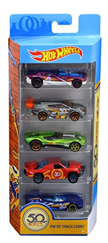 Hot Wheels 50th Anniversary Track Stars 5 Pack, 1:64 scale - 64 Hot Wheels Racing