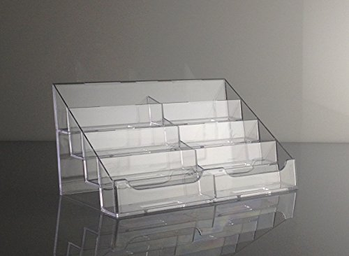 T'z Tagz Brand Clear Acrylic 8 Pocket Countertop Business Card Holder (Pocket Desktop 12 Plastic)
