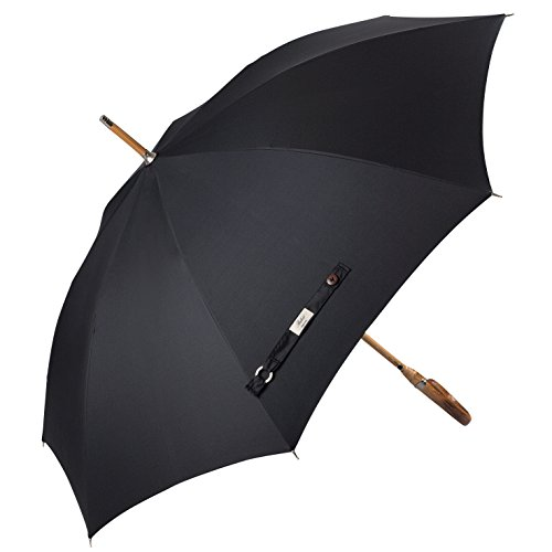 Balios Prestige Walking Umbrella, Real Wood Handle & Bamboo Shaft, Auto Open, Windproof Designed in UK (Jet Black) ()