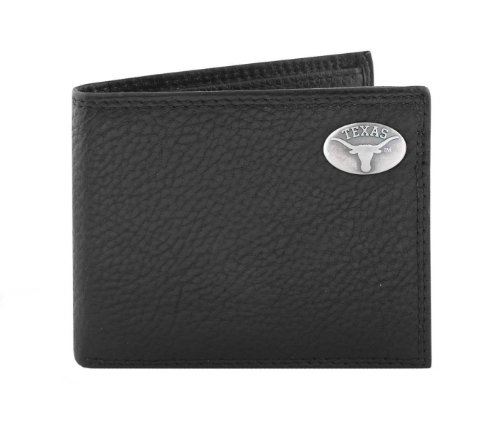 NCAA Texas Longhorns Black Pebble Grain Leather Bifold Concho Wallet, One Size