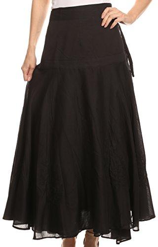 Wrap Skirt Set (Sakkas 6004 - Harriet Long Tall Adjustable Embroidered Wrap Around Skirt With Waist Tie - Black - OS)