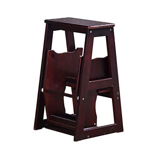 STOOLLZX Escalera Plegable, Escalera de Madera de 3 peldaños, Antideslizante, multifunción, para Biblioteca, recámara, Sala de Estar, fácil de almacenar, 36 x 57 x 64,5 cm, Café Oscu